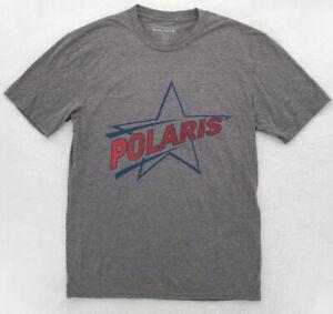 Polaris Snowmobile T-Shirt Mens Size M-2XL Gray Short Sleeve Front Star Logo