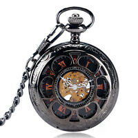 Black Hollow Flower Exquisite Skeleton Mechanical Hand Wind Pocket Watch Pendant