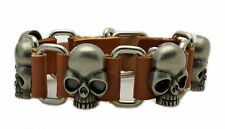 Mens Womens Brown Leather Silver Skulls Bracelet Buckle Closure NEW