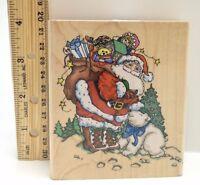 Santa Polar Bear Christmas wood mounted rubber stamp Inkadinkado Frerichs 1999