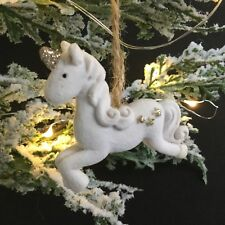 White Unicorn Christmas Tree Hanging Decoration Velour Star Vintage