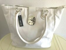 APT.9 Women's SALLY Tote Bag Silver Accent & Side Zip Pockets, White $69 RARE