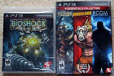 PS3 Game Lot - Bioshock Borderlands XCOM Enemy Unknown (New) Bioshock 2 (New)