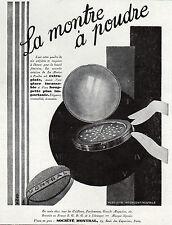 PUBLICITE  COSMETIQUE LA  MONTRE A POUDRE SOINS VISAGE COSMETIC ART DECO AD 1929