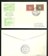1963 Busta Europa VOLO NAPOLI - RIMINI  SAN MARINO Annullo Speciale Timbro Retro