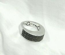 GUESS COLLECTION - MICRO PAVE Black CZ - Ring 7.75 Sterling Silver 925