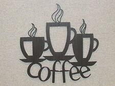 3 Coffee Cups Laser Cut wood Wall Decor Kitchen Art Sign coffee shop