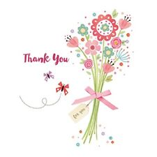 Pack of 10 Thank You Greeting Cards In 2 Designs Blank Inside Card Packs