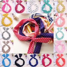 Women Bow Rabbit Ear Ribbon Hair Band Wire Wrap Cloth Turban Headband Hairband