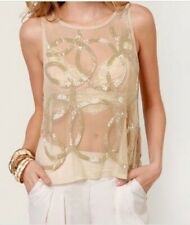 Costa Blanca NWT Sheer Ivory Top with Sequins Size XS