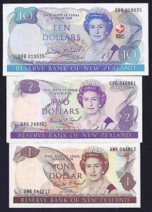 New Zealand LOT  1+2+10  1981- 1992  Dollars  P-169 + 170 + 176