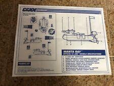 Vintage Original Cobra GI Joe ARAH 1993 Manta Ray Instructions Blueprints