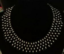 Vintage black and white glass beaded collar