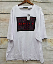 Sean John Big Mens Size 5XB White 098 Graphic T-Shirt with Shoulder Epaulets New