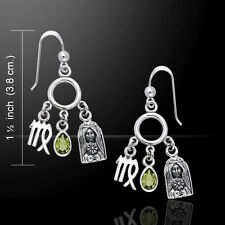 Virgo Zodiac Astrology Sign .925 Sterling Silver Earrings by Peter Stone