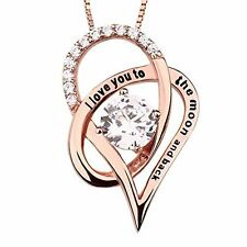 Anniversary Birthday Gift For Her Girls Silver Necklace Pendant Rose Gold Heart