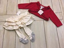 JANIE & JACK / GAP NWT Red Cardigan Sweater ~ Ivory Tights Ruffle Skirt Set