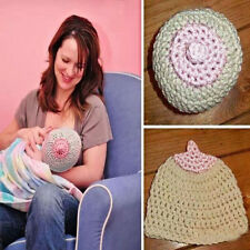 Baby Girl Boy Crochet Knitted Breast Feeding Boob Beanie Photography Prop Caps