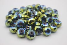 60 pce Tanzanite Metallic Green Electroplate Faceted Abacus Glass Beads 12mm
