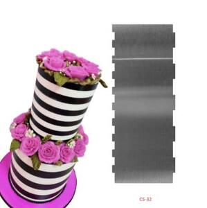 Stainless Steel Cake Scraper Large Double Sided Patterned Edge Stripe Edge Comb