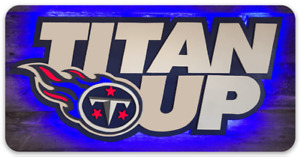 Tennessee Titans TITAN UP Slogan word logo on colored blue background MAGNET
