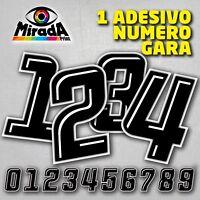 Adesivi / Stickers NUMERO GARA NERO 1 MOTO PISTA AUTO CARENA CUPOLINO SBK