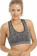 Camille Womens Ladies Sports Activewear Seam Free Grey Aztec Crop Top Sports Bra