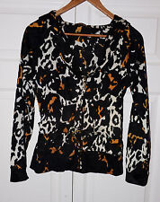 ROBERTO CAVALLI leopard-print hooded belted zip jacket L (fits smaller)
