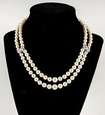 Cultured Pearl Double Strand Necklace 18K Diamond Clasp and Spacers