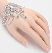 Aurora Borealis Chain Cuff Pageant Silver Ab Crystal Rhinestone Bracelet Bridal