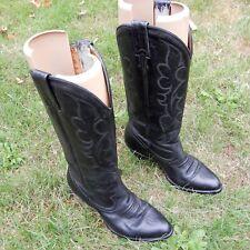 "BOULET BOOTS 6 1/2 C BLACK LEATHER  3"" HEELS EURO 37 WESTERN BOOTS UK 4,5 EUR 37"