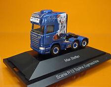 """Herpa 110884 Scania R Topline 6x2 Zugmaschine """" Max Steffen """"  - Schweiz"""