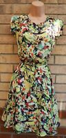 MAX C LONDON LIME FLORAL ORANGE SHORT SLEEVE BELTED FLIPPY SKATER DRESS 14 L