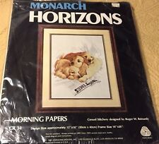 Monarch Horizons Morning Papers Puppy Dogs Stamped Crewel Embroidery Kit Cr 34