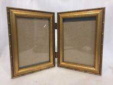 Photo Portrait Frame Hinged Gold Tone Metal 5X7 Table / Wall Mount