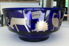 Egizia Sottsass Italy Cobalt Blue Art Glass Bowl Decorated with Sterling Animals
