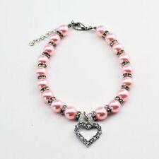 Adjustable Pet Collar Cat Dog Heart Rhinestone Pendant Pearl Necklace Hot Sale