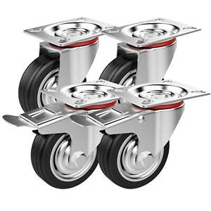 4x Heavy Duty 75mm Rubber Swivel Castor Wheels Trolley Furnitures Caster Black