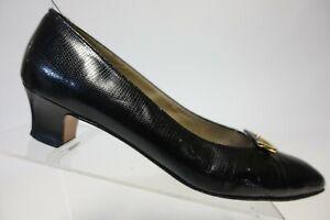 SALVATORE FERRAGAMO Black Sz 9 AA Narrow Women Kitten-Heel Leather Loafers