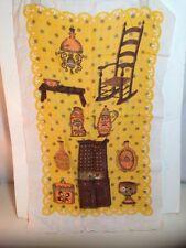 "Vintage Linen Towel Tapestry Kitsch Americana Primitives Textiles 16"" X 26"" Deco"