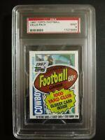 1987 Topps Football Cello Pack Tony Dorsett Team Card On Top PSA 9