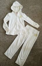 Juicy Couture Ivory Velour Hooded Pant Jogging Set Girls Size 5