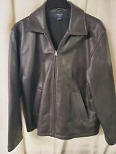 Brooks Brothers Sport Mens M Black Leather Jacket Wool Lined Full Zip Bomber