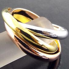 RING GENUINE REAL 18K MULTI-TONE G/F GOLD SOLID LADIES RUSSIAN TRINITY DESIGN