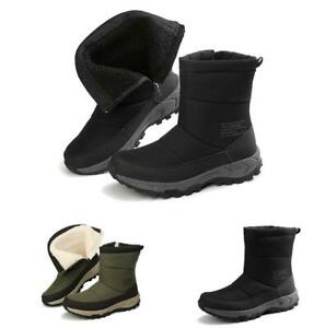 Mens Winter Snow Ankle Boots Shoes Fur Inside Zipper Warm Walking Outdoor Casual