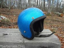 Vintage 1970s Blue Metalflake Roper Lanco MOTORCYCLE HELMET Small Metallic BIKE
