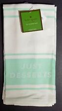Kate Spade NY 2 Kitchen Towels Diner Stripe JUST DESSERTS, Mint Green on White