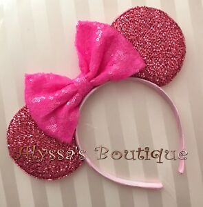 Minnie Mouse Shiny Pink Ears Headband Cotton Candy Pink Sequin Sparkly Bow Cute