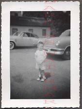 Vintage Car Photo Cute Boy w/ 1950 Studebaker Convert & 1952 1953 Kaiser 674234