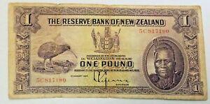 1934 Reserve Bank New Zealand £1 One Pound Banknote VG P-155 Maori King Tawhiao